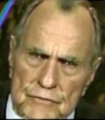 Georg Bush schaut ziemlich grimmig aus