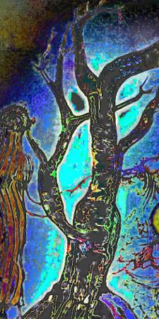 Ein kahler Baum, von dem ein Glühen ausgeht.