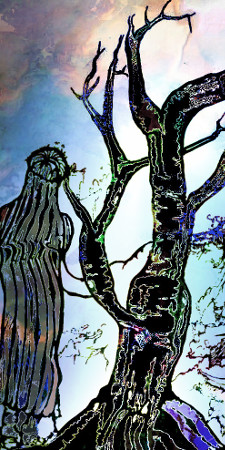 Ein schwarzer Baum mit kahlen Ästen, neben dem ein Frau steht, die zum Horizont blickt.