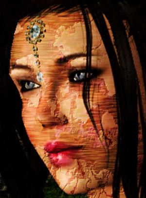 Gesicht eine schönen Frau, deren Haut abzublättern scheint.