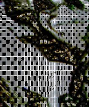 Ein zylinderähnliches Objekt, mit einem schachbrettähnlichem Muster