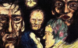 Mehrere Gesichter, die in einem dunkeln Raum schweben