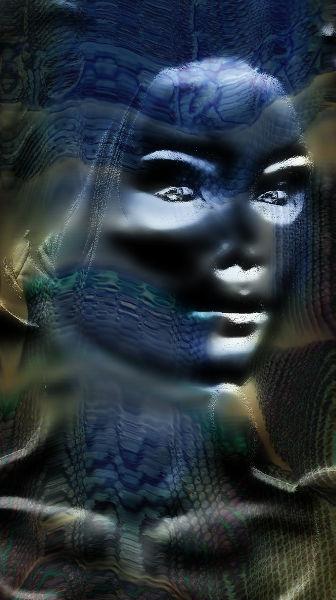Gesicht einer Frau, mit falschen Farben stark  verfremdet.