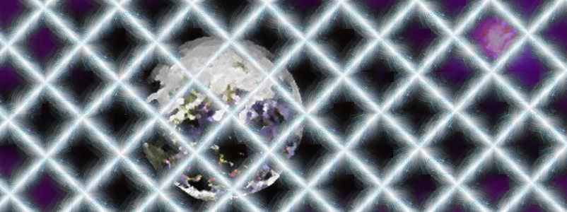 Die Erde im Weltraum schwebend, hinter einem Gitter.