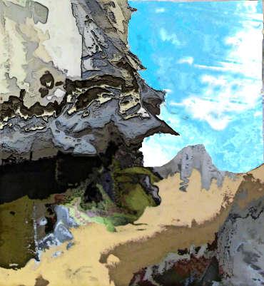 Ein schmaler Pfad an einem steilen Abrund in einem Gebirge.