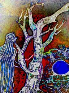 Neben einem Baum ohne Blätter, steht eine Person und beobachtet den Horizont, als würde sie auf etwas warten.