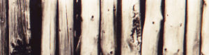Eine graue, ausgeblichene Bretterwand
